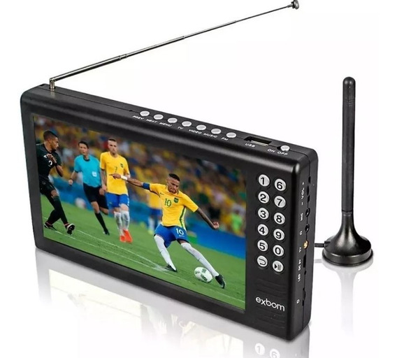 Tv Digital Portátil Tela 7 Polegadas Hd Led Com Bateria Usb