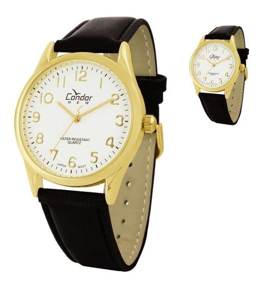 Relógio Condor Masculino Dourado Com Pulseira De Couro