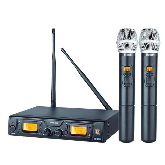 Sistema 2 Microfones S/fio Uhf Dual System Srw-48sd - Staner