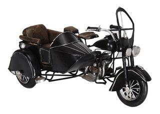 Moto Sidecar Metal Negra Miniatura Coleccionable Coleccion