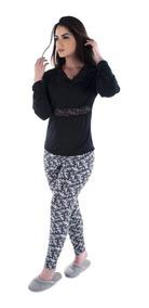 7e16e4de112aef Pijama Longo Feminino Adulto Detalhe Rendado Noite 083