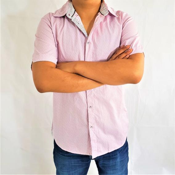 Camisa Hombre Caballero Rosa Blanco Botones Primavera