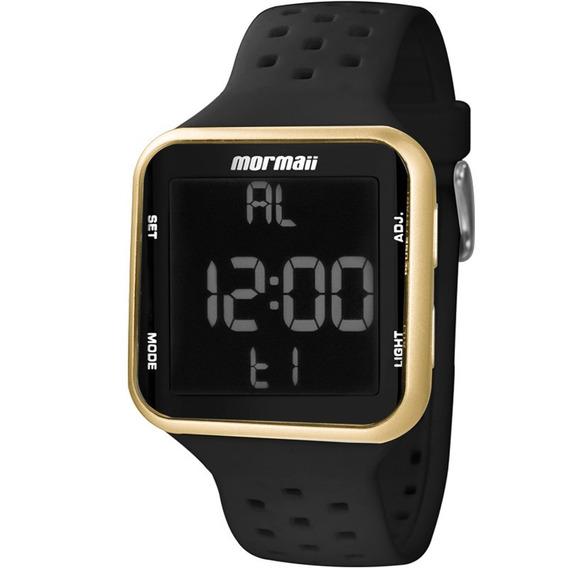 Relógio Mormaii Feminino Pulseira Silicone Preto Dourado Digital Quadrado Mo6600/8d Original