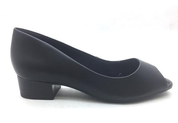 Sapato Peep Toe Ramarim Comfort Preto Salto Baixo Oferta