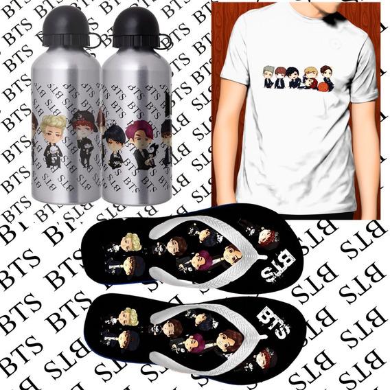 Kit Personalizado Squeeze +camiseta + Chinelo Bts #51