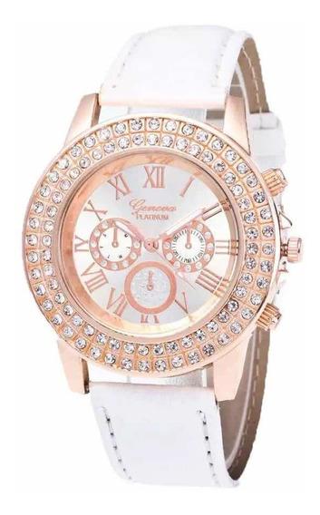 Relógio Feminino Geneva Branco Cravejado De Zircônia