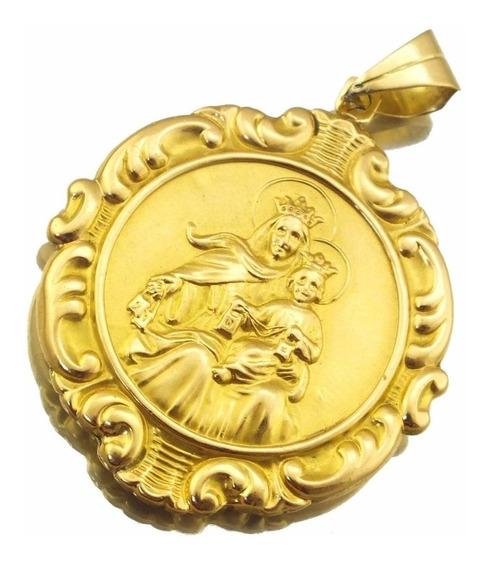 Pingente Dupla Face Nossa Senhora E Menino Jesus Outro Lado Com Sagrado Coração De Jesus Em Ouro 18k Peq Defeito J12367