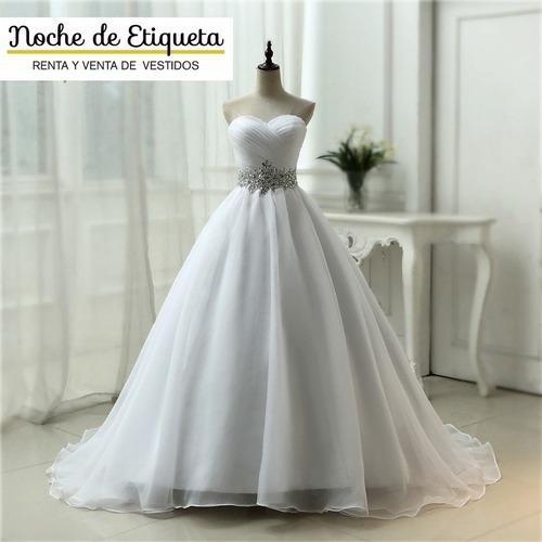 Vestido De Novia Corte Princesa Organza Strapless Corazon