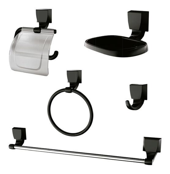 Kit 5pcs De Acessorios Para Banheiro Quadra Preto Lorenzetti