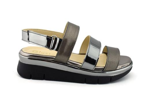 Sandalias Para Dama En Piel Con Suela Ancha Y Velcro Giusto