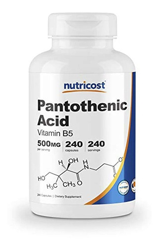 Nutricost Ácido Pantoténico (vitamina B5) 500 Mg, 240 Cápsul