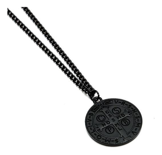 Corrente Colar Masculino Medalha De São Bento Black