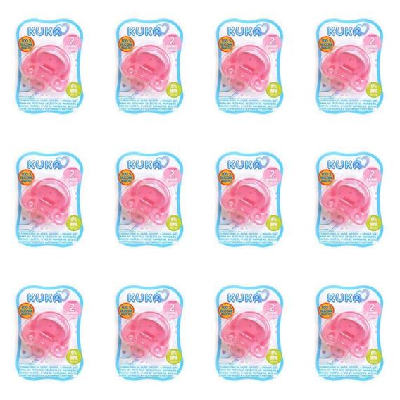 Kuka 2707 Chupeta 100% Silicone Nº2 Orto Rosa (kit C/12)
