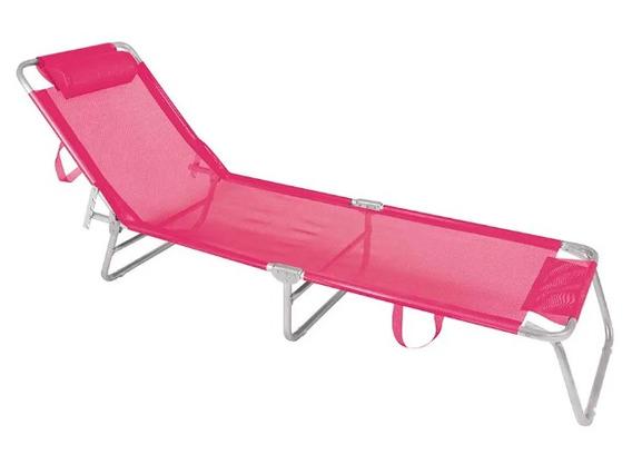 Cadeira Espreguiçadeira Mor Alumínio Piscina E Praia Rosa Li