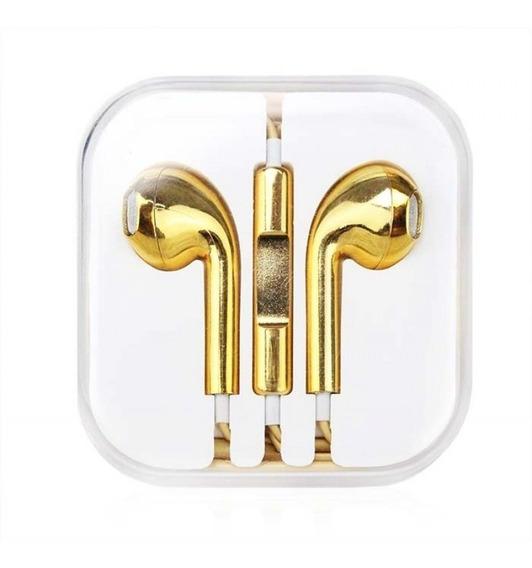 Fone De Ouvido Metalizado Compatível iPhone Dourado