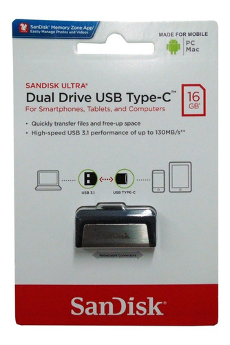 Pendrive Sandisk 16 Ultra Dual Drive 16gb Usb 3.0 Tipo A Y C
