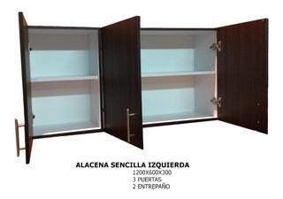Alacena Para Cocina 3 Puertas Color Chocolate. Trami