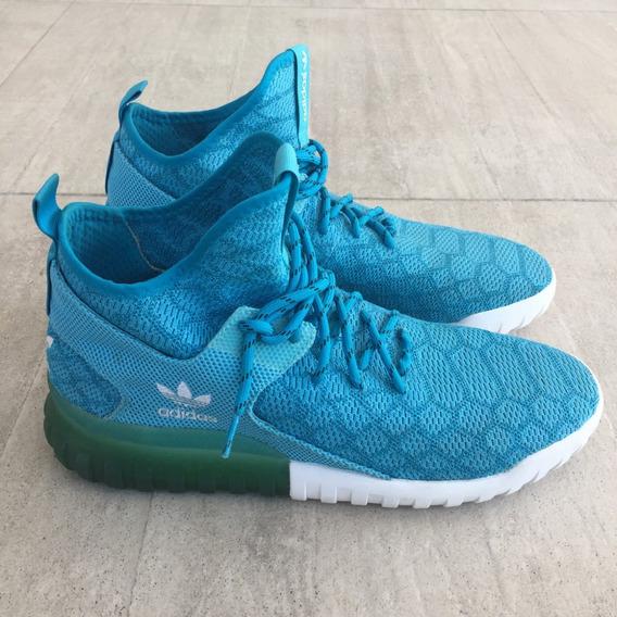 Tênis adidas Tubular Mid X Primeknit Snake Cano Médio Azul