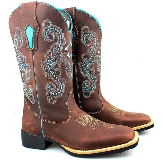 Bota Texana Country Feminino Em Couro Rodeio Festa Cawboy