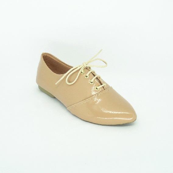 Sapato Oxford Feminino Verniz Nude