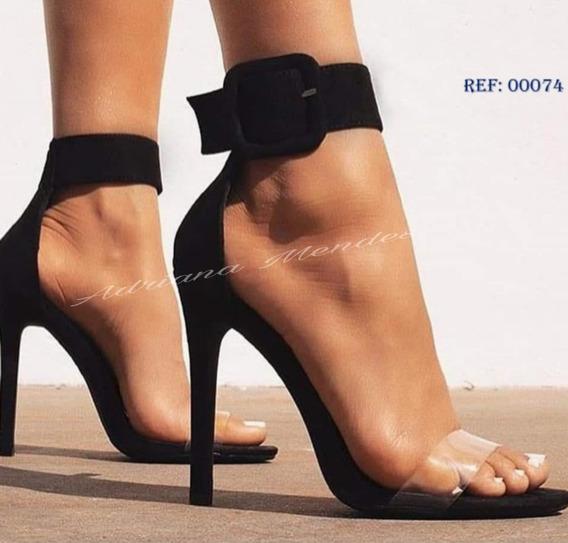 Sandália Feminina Com Transparência Salto Alto/tornozeleira