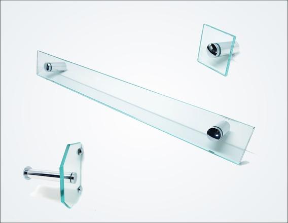 Kit De Acessórios P/ Banheiro 3 Pçs Em Vidro Incolor D600