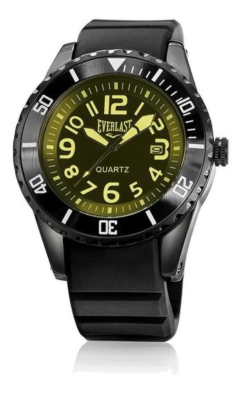 Relógio Pulso Everlast Masculino Calendário Preto E518