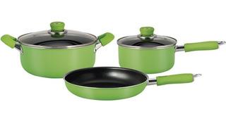 Set De Cocina De Teflón Hudson Verde Olla Cacerola Y Sartén