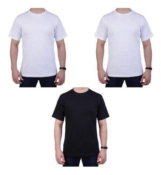 Kit 3 Camisetas Unissex Básicas Algodão Manga Curta Casual