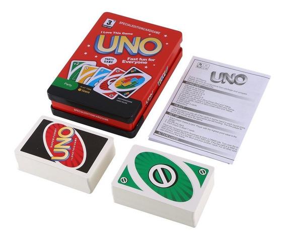 Uno Desktop Card Game Adult Poker Divertido Caja De Hierro