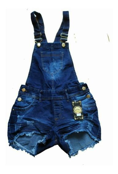 Jardineira Feminina Short Jeans Plus Size Com Lycra 36 Ao 54