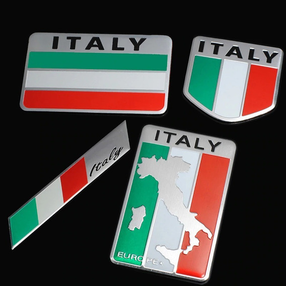 Liga Alumínio Metal Itália Bandeira Italiano 4x Adesivo