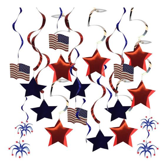 30 Pcs Pendurado Redemoinhos Eua Bandeira América 4 Julho I