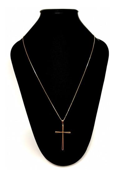 Corrente Veneziana 65cm Crucifixo Palito Banhado A Ouro 18k