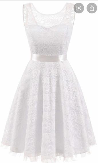 Vestido Blanco Corto Civil Encaje Novias