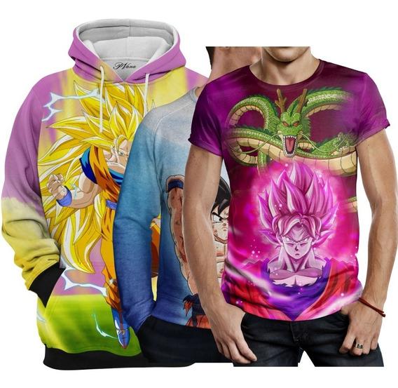 1 Moletom, 1 Suéter E 1 Camiseta Estampada Goku Dragon Ball Super