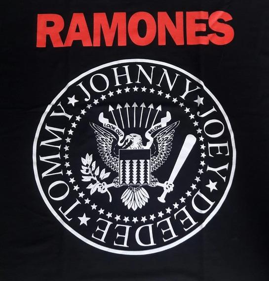 Camiseta Ramones Feminina Canoa Viscose Brasão Show Malhas S