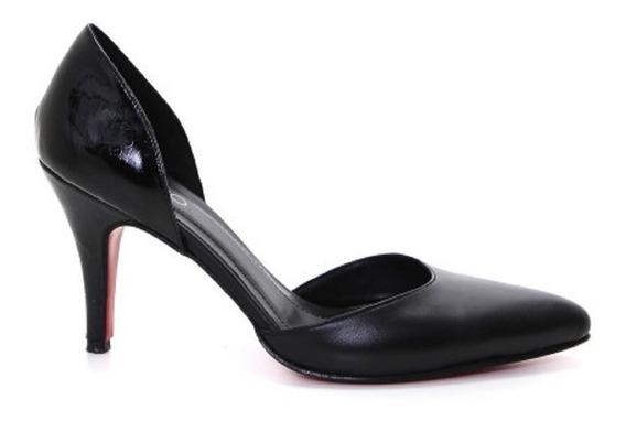 Zapatos Stilettos Cuero/charol Negro Via Uno