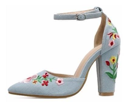 Sapato Scarpin Bordado Flores Color Salto Grosso 3 Cores