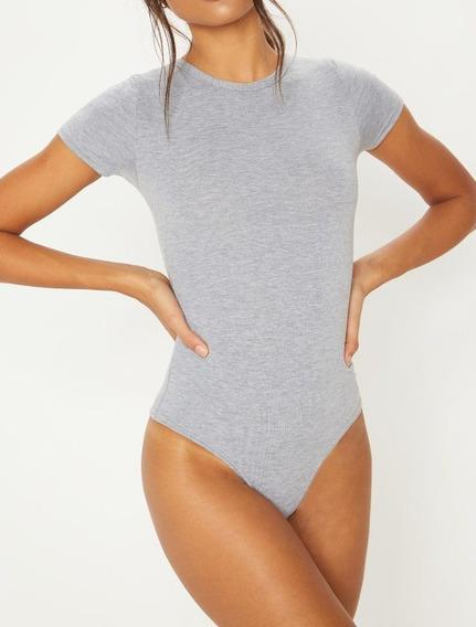 Body Feminino Slim Gola Redonda Manga Curta Collant