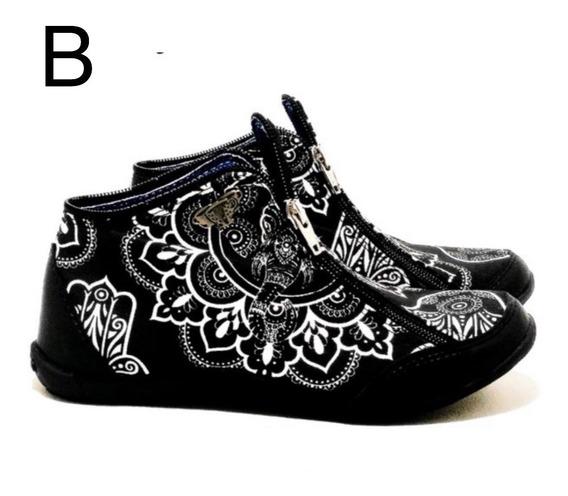 Zapatillas Tipo Botita Con Doble Cierre De Te Para Tres