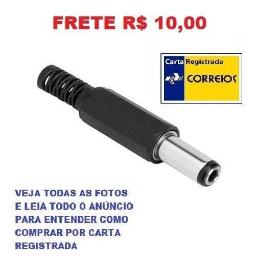 Kit 3 Conector Plugue Jack Macho P4 2.1x5.5mm Frete R$ 10,00