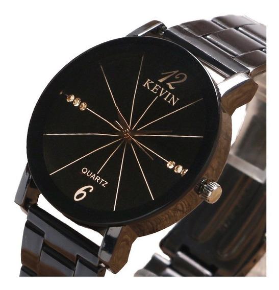 Reloj Acero Marca Kevin Hombre Elegante Mujer Brillante B156