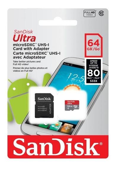 Cartão Memória Micro Sd 64gb + Ultra Sandisk Original Ofer