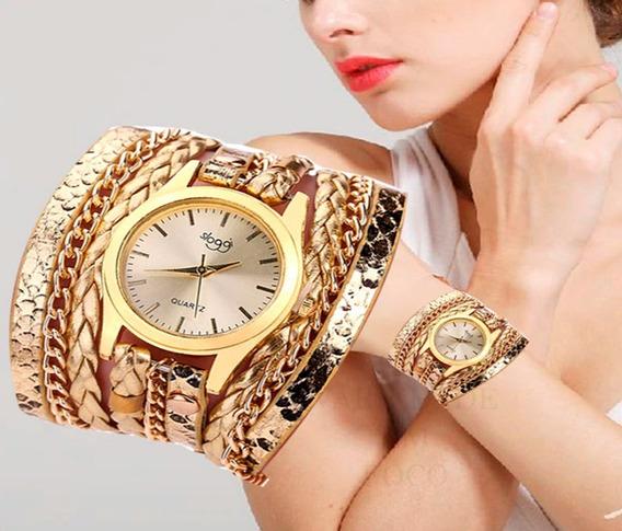 Relógio Feminino Barato Dourado Couro Bracelete