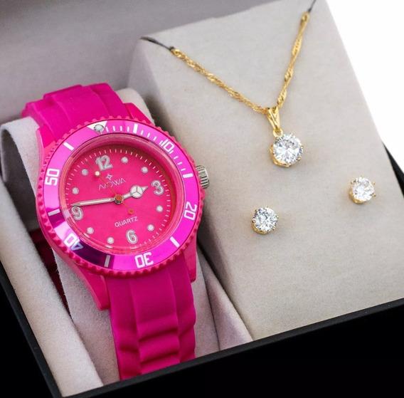 Relógio Feminino Nowa Nw0523rk Silicone Original Nf