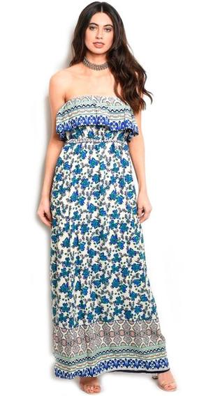 Vestido Casual Largo Azul, Floreado, Straple, Fresco.