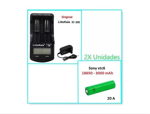 2x Baterias Sony 18650 Vtc6 3000mah 20a +carregador Lii- 300