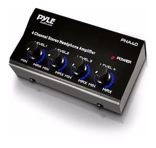 Pyle Amplificador De Auriculares Pha40 4 Canales De 1/4
