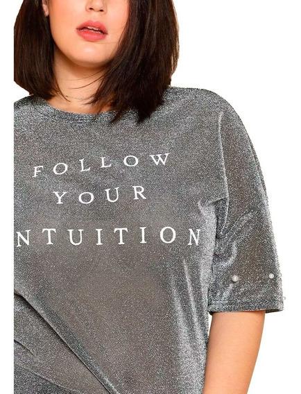 Remera Shein Brillo Perlas Follow Your Intuition Plus 2x 3x